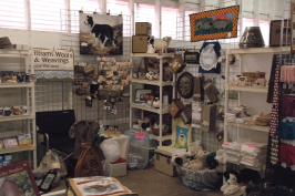 One vendor booth with lots to buy, including Border Collie items.